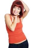 röd sexig kvinna för hårstående Royaltyfri Foto