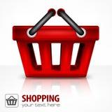 röd shopping för korg Arkivbild