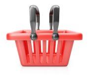 röd shopping för korg Arkivbilder