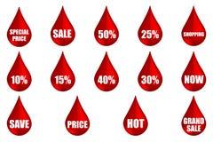 Röd shopping för SALE etikettetikett Royaltyfria Bilder