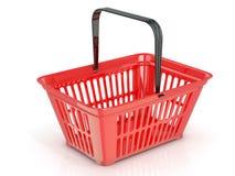 Röd shoppingkorg, sidosikt Arkivbilder