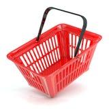 Röd shoppingkorg, sidosikt Fotografering för Bildbyråer