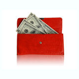 röd shoppingplånbok för lyckliga pengar Royaltyfri Fotografi
