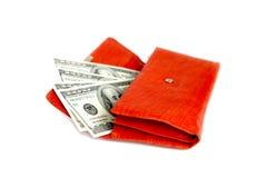 röd shoppingplånbok för pengar Royaltyfria Bilder