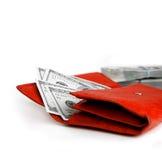 röd shoppingplånbok för pengar Royaltyfri Foto