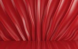 Röd siden- gardin och tyg på golvet 3d framför Arkivbild
