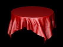 Röd siden- modell för torkduk för rund tabell som isoleras på svart illustration 3d Royaltyfria Foton