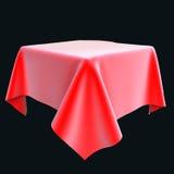 Röd siden- torkduk på objektet eller tabellen Royaltyfri Illustrationer
