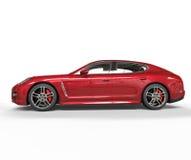 Röd sidosikt för snabb bil Royaltyfri Foto