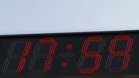Röd siffraklocka 17 59 Arkivfoto