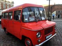 Röd sightbuss i krakow arkivfoto