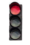 Röd signal av trafikljuset Arkivfoton