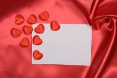 röd silk white för kort Fotografering för Bildbyråer