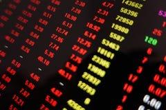 Röd skärm för aktiemarknadhandelpris arkivbilder