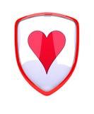 Röd sköld med hjärtasymbol - Royaltyfri Foto