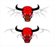 Röd skalle med hornet royaltyfri illustrationer