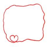Röd skein med hjärta för virkning Fotografering för Bildbyråer