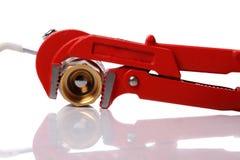 röd skiftnyckel Royaltyfri Fotografi
