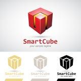 Röd skinande 3d kub Logo Icon Arkivfoto