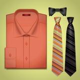 Röd skjorta för vektor med ett band stock illustrationer
