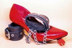 Röd sko för kvinnor Arkivfoto