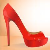 Röd sko för vektor Royaltyfria Bilder