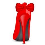 Röd sko med pilbågen Fotografering för Bildbyråer