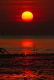 röd skysolnedgång Arkivfoton