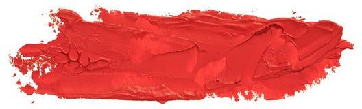 Röd slaglängd för borste för oljatexturmålarfärg arkivbild