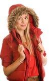 röd slitage kvinna för hooded anorak Royaltyfria Foton