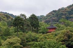 Röd slott bland träd med gräsplansidor i Japan Royaltyfri Foto