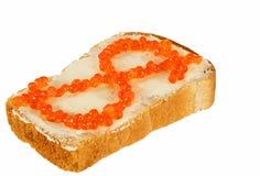 röd smörgås caviare2 Arkivfoto