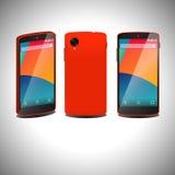 Röd smartphone i tre vägar Fotografering för Bildbyråer