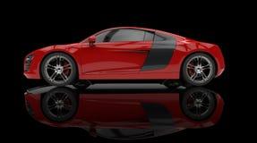Röd snabb bil på svart bakgrund Royaltyfri Bild