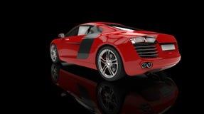 Röd snabb bil på svart bakgrundsbaksidasikt Royaltyfria Foton