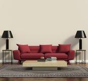 Röd soffa i en modern modern vardagsrum Arkivfoto