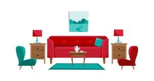 Röd soffa med cofeetabellen, nightstands, målning, tabelllampor, vasen, matta, mjuk stol och häftklammermatare i vardagsrum Porsl stock illustrationer