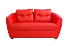 Röd soffafuniture som isoleras på vit bakgrund Royaltyfria Foton