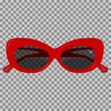 Röd solglasögon på en genomskinlig bakgrund Arkivbild