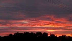 Röd solnedgång över horisonten Arkivbilder