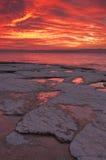 röd solnedgång Arkivbild