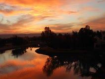 Röd solnedgång för El Gouna Arkivfoto