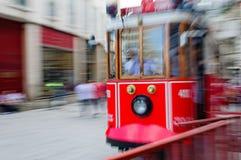 Röd spårvagn av Istanbul royaltyfri foto