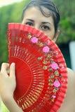 röd spansk kvinna för ventilator Royaltyfria Bilder