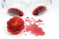 röd spilld wine för camellia Arkivbilder