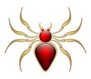 Röd spindel för smyckenbroschamulett i guld med ädelstenar Fotografering för Bildbyråer
