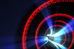 Röd spiral för binär kod med blått ljus Royaltyfria Foton