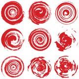 Röd spiral för Grunge Arkivbild