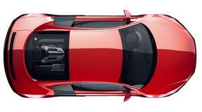 Röd sportbil - bästa sikt Arkivfoto