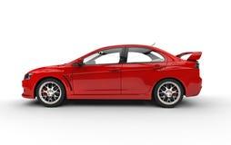 Röd sportbil på vitbakgrund Arkivbild